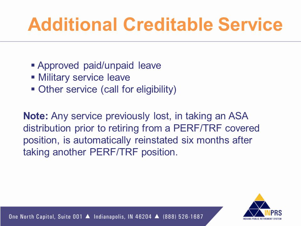 Additional Creditable Service