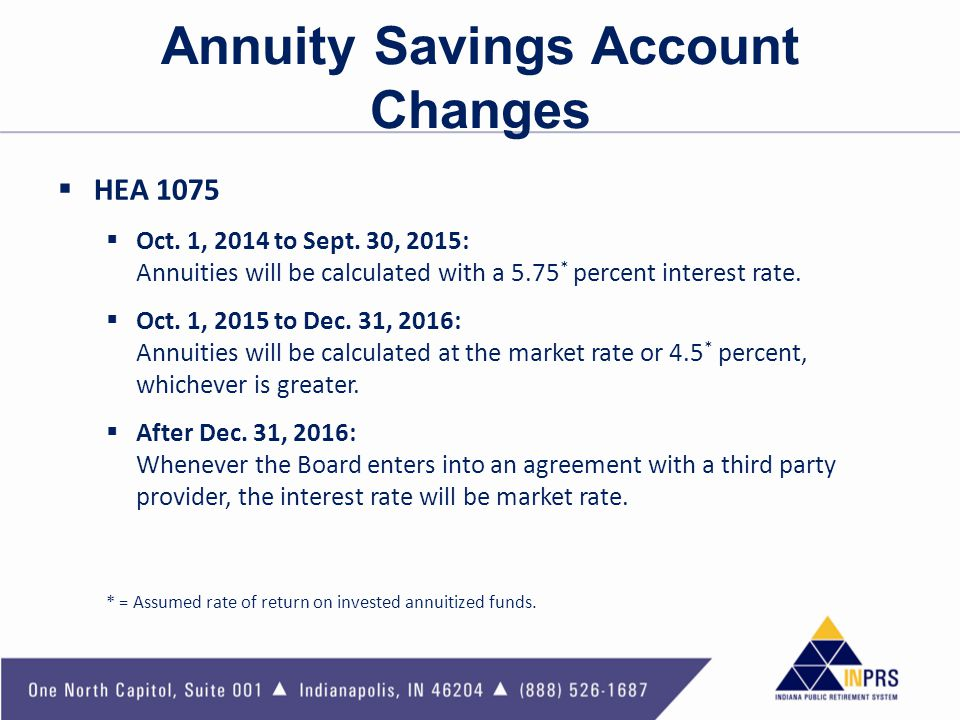 Annuity Savings Account Changes