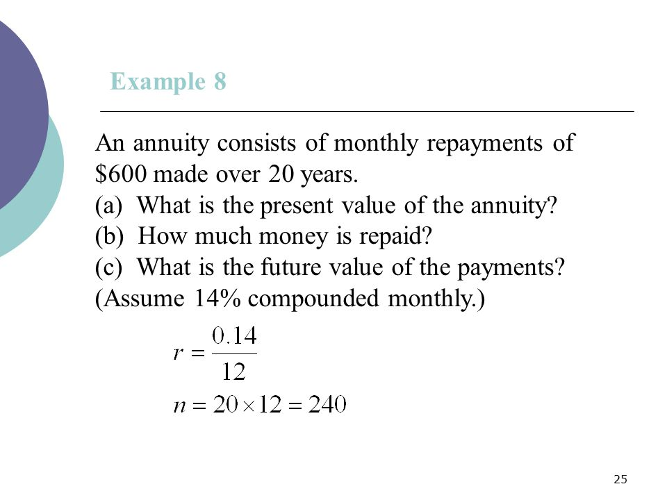 Example 8 An annuity consists of monthly repayments of $600 made over 20 years. (a) What is the present value of the annuity