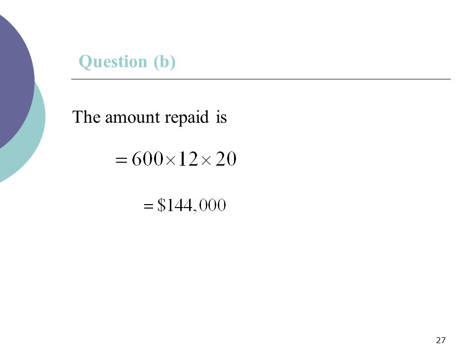 Question (b) The amount repaid is