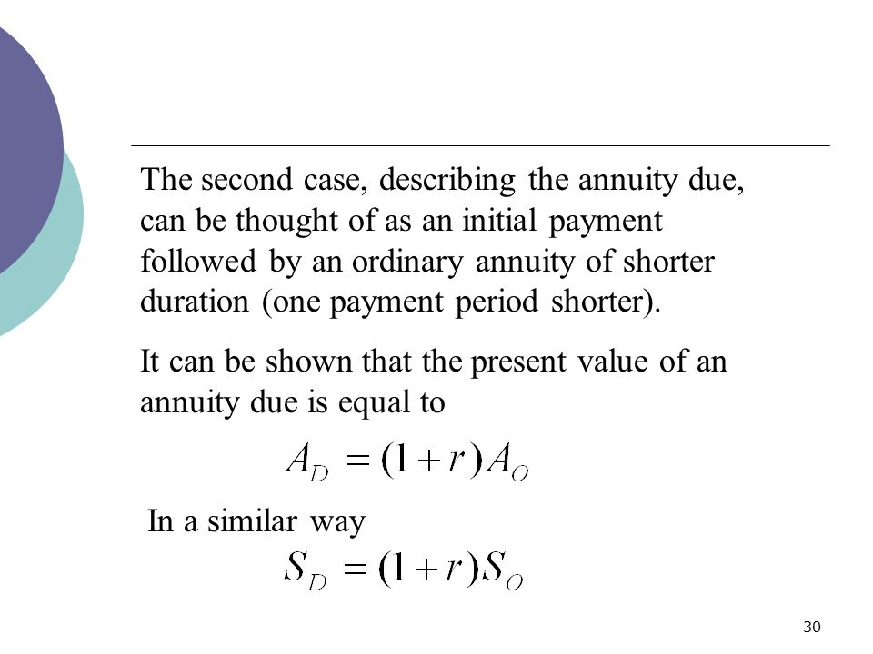 The second case, describing the annuity due, can be thought of as an initial payment followed by an ordinary annuity of shorter duration (one payment period shorter).