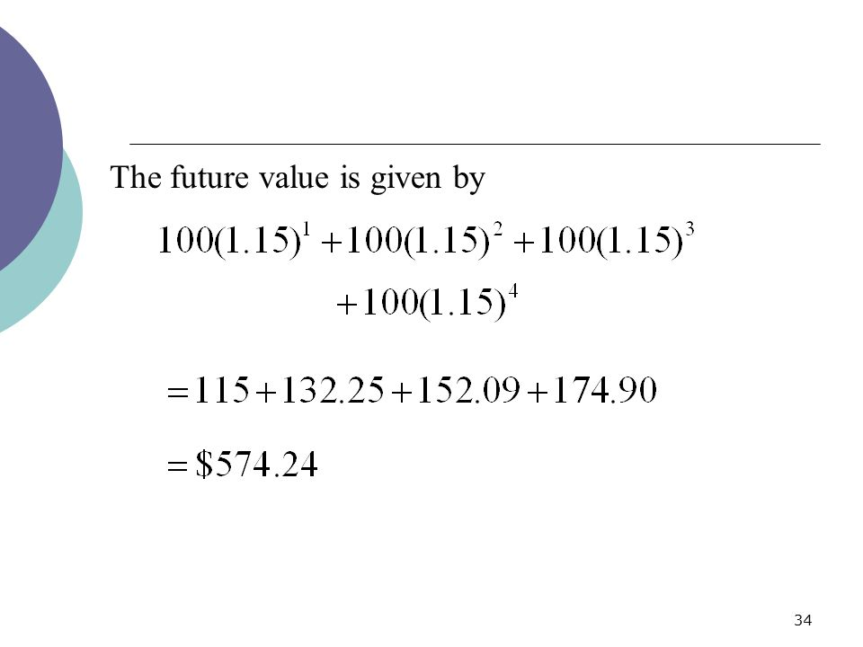 The future value is given by