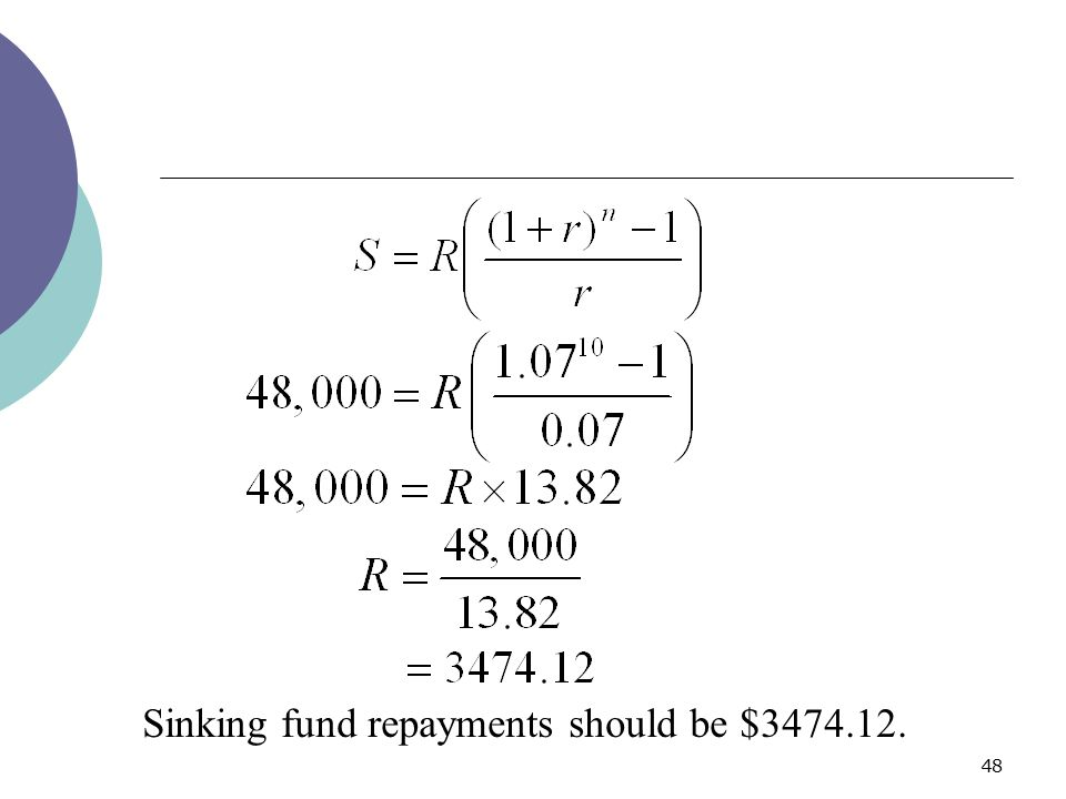 Sinking fund repayments should be $3474.12.