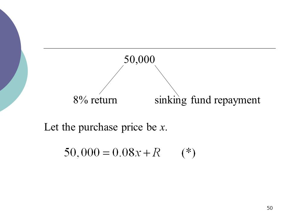 50,000 8% return sinking fund repayment Let the purchase price be x.