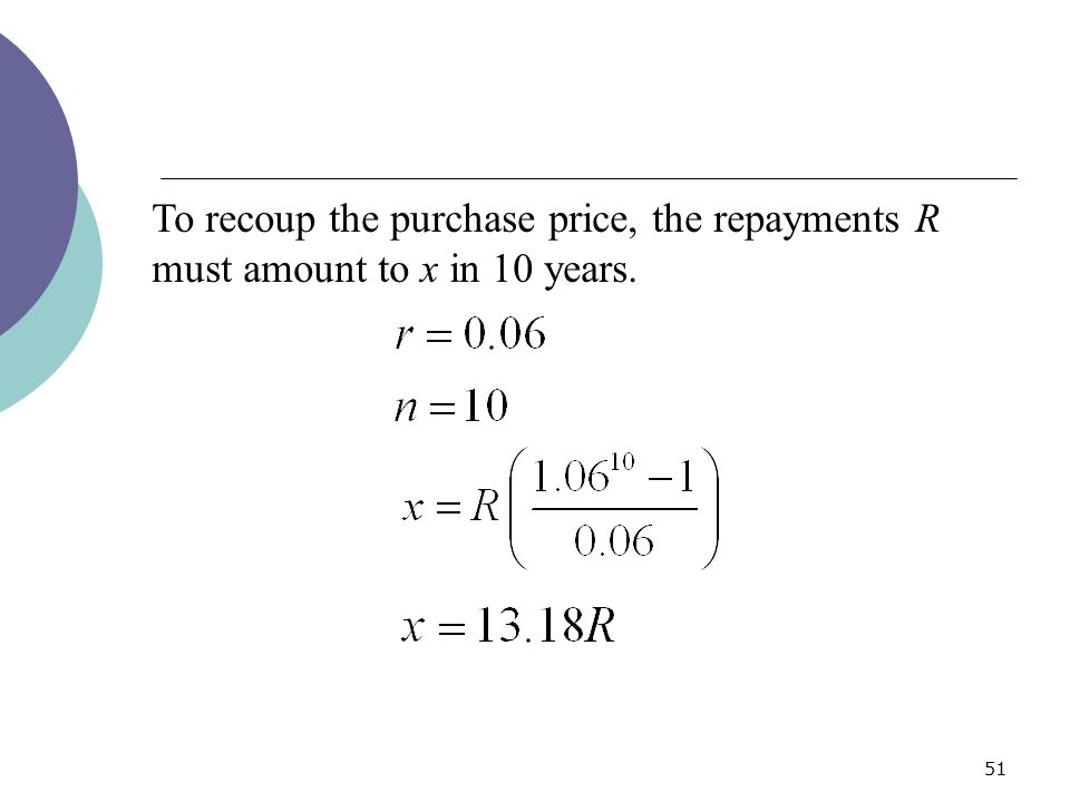 To recoup the purchase price, the repayments R must amount to x in 10 years.