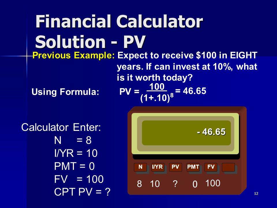 Financial Calculator Solution - PV