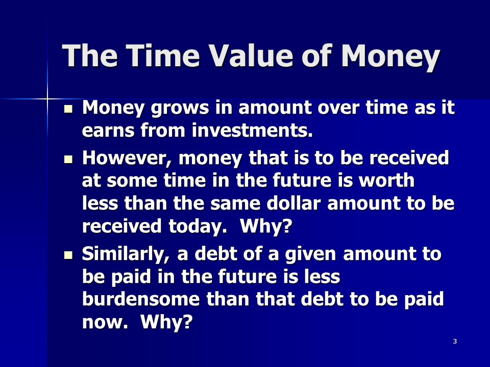 The Time Value of Money Money grows in amount over time as it earns from investments.