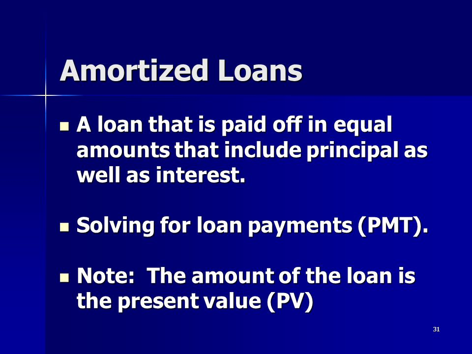 Amortized Loans A loan that is paid off in equal amounts that include principal as well as interest.