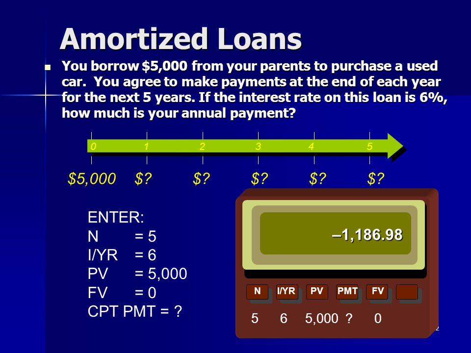 Amortized Loans $5,000 $ ENTER: N = 5 I/YR = 6 PV = 5,000 FV = 0
