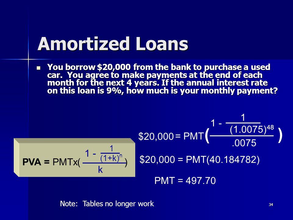 Amortized Loans ( ) 1 1 - (1.0075)48 $20,000 = PMT .0075 1 -