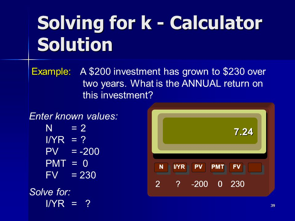Solving for k - Calculator Solution