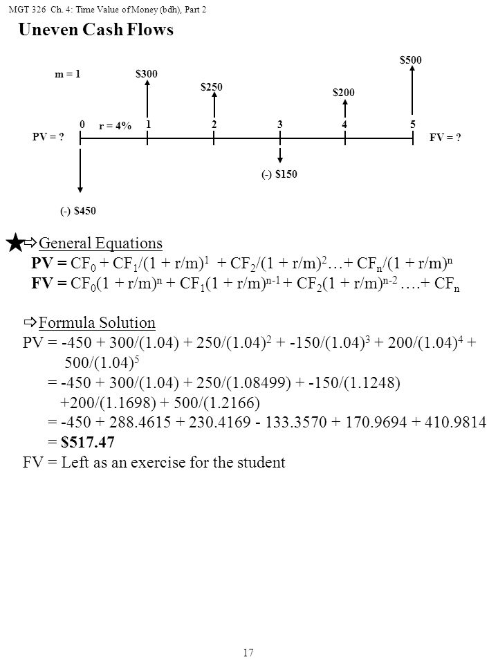 Uneven Cash Flows General Equations