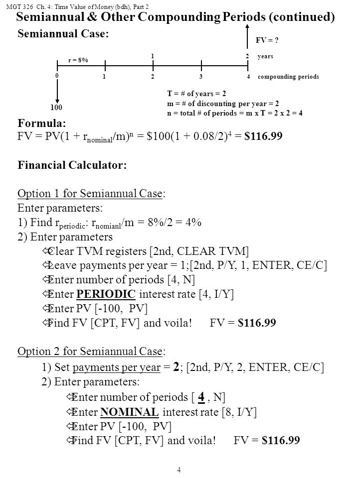 Semiannual & Other Compounding Periods (continued)