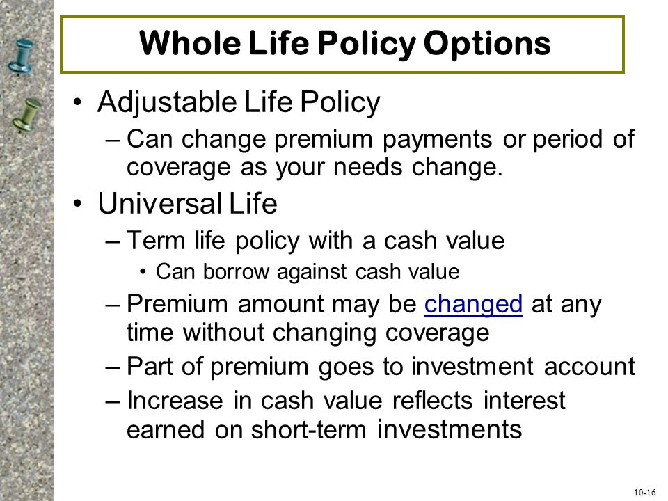 Whole Life Policy Options