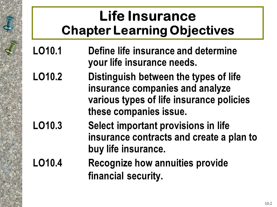 Life Insurance Chapter Learning Objectives