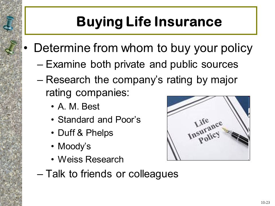 Buying Life Insurance Determine from whom to buy your policy
