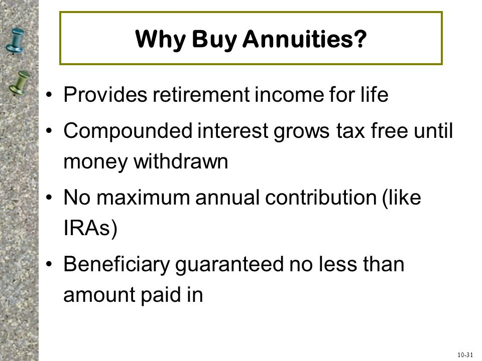 Why Buy Annuities Provides retirement income for life