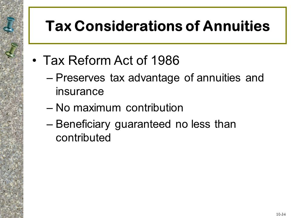 Tax Considerations of Annuities