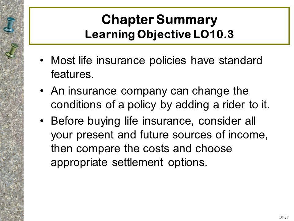 Chapter Summary Learning Objective LO10.3