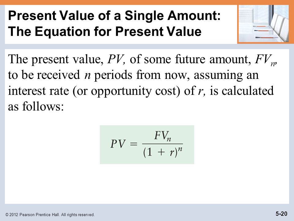 Present Value of a Single Amount: The Equation for Present Value