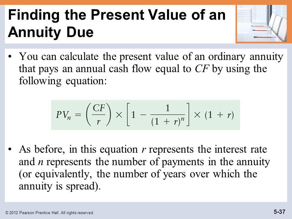 Finding the Present Value of an Annuity Due