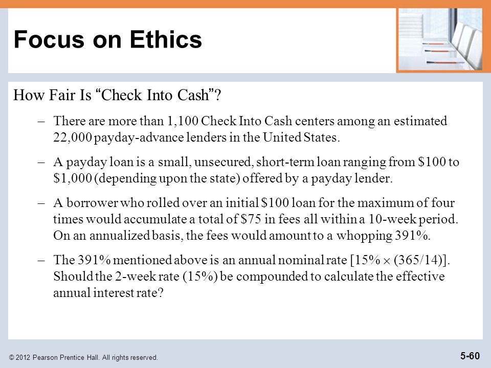 Focus on Ethics How Fair Is Check Into Cash