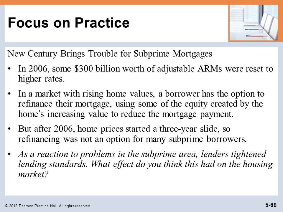 Focus on Practice New Century Brings Trouble for Subprime Mortgages