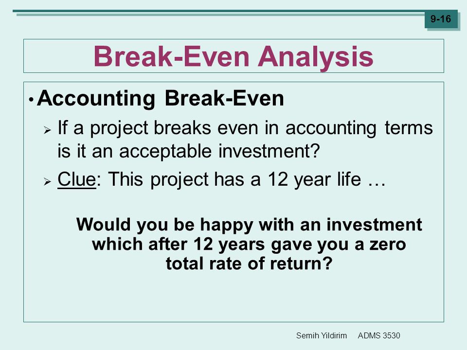 Break-Even Analysis Accounting Break-Even