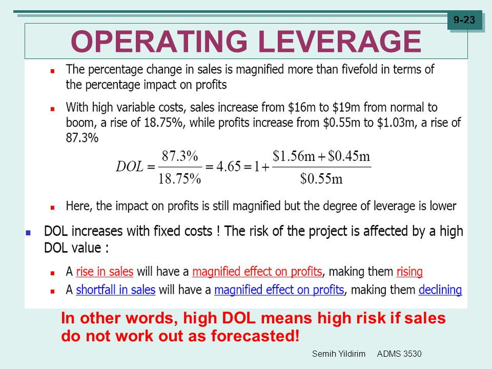 OPERATING LEVERAGE In other words, high DOL means high risk if sales do not work out as forecasted!