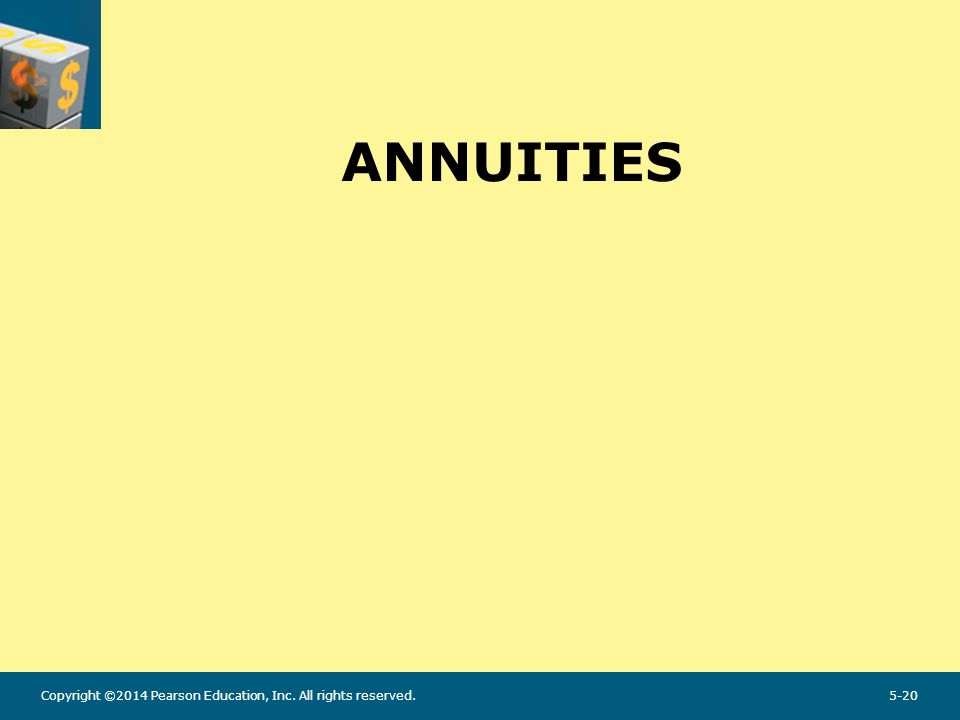 Annuity An annuity is a series of equal dollar payments for a specified number of years.
