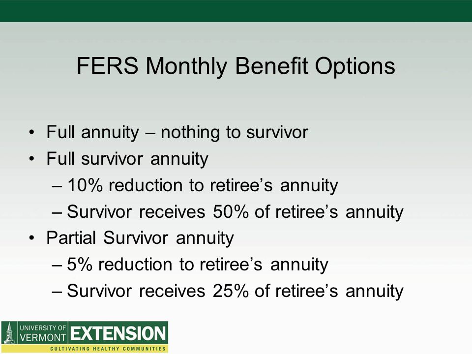 FERS Monthly Benefit Options