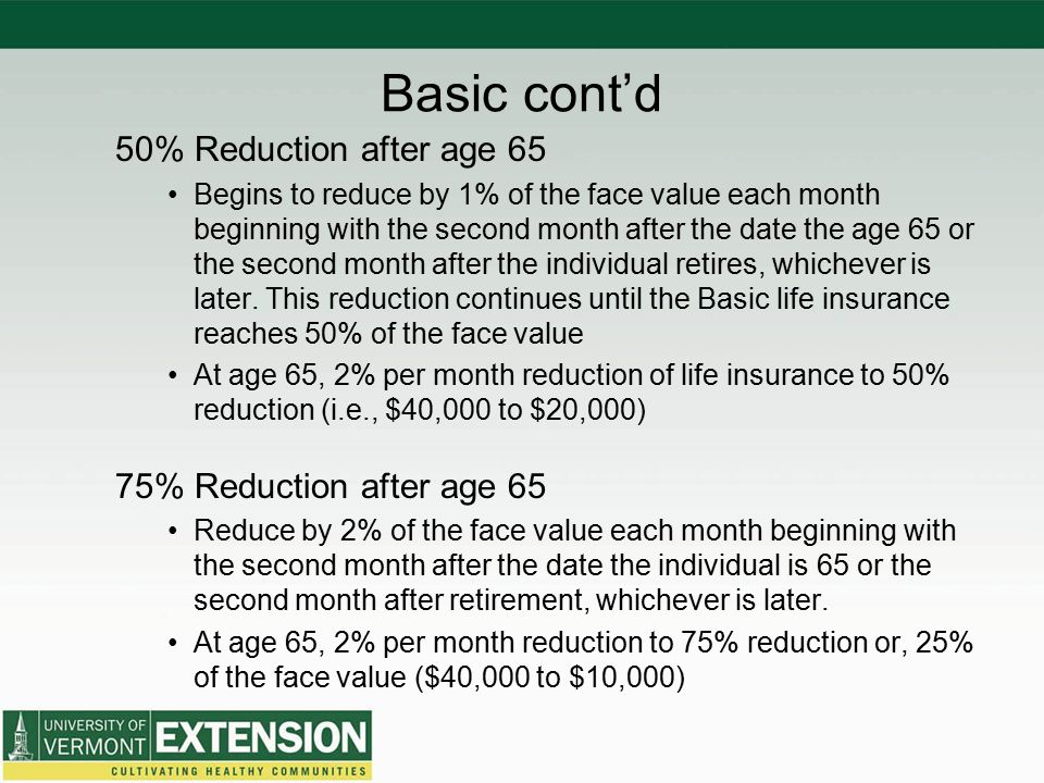 Basic cont'd 50% Reduction after age 65 75% Reduction after age 65