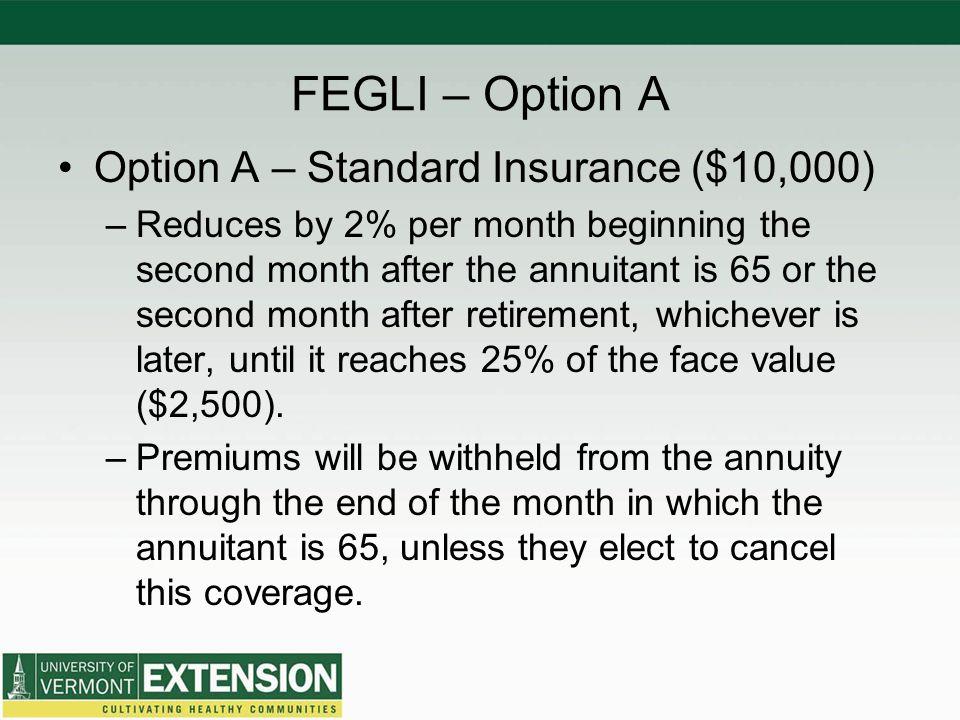 FEGLI – Option A Option A – Standard Insurance ($10,000)