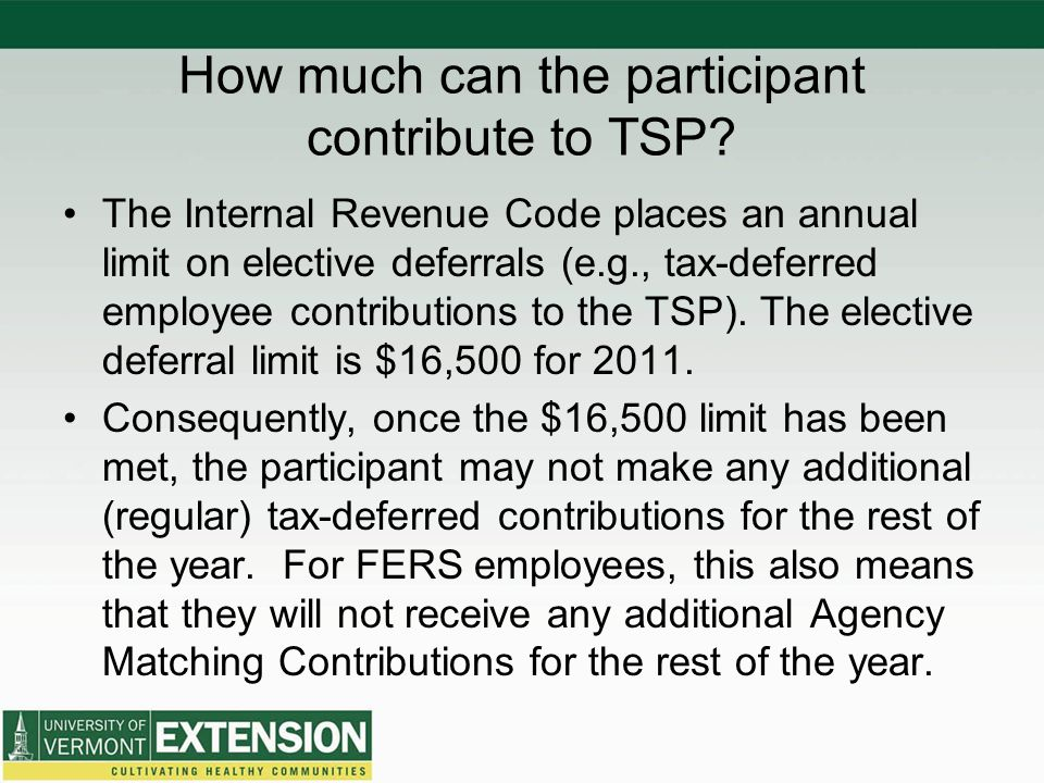 How much can the participant contribute to TSP