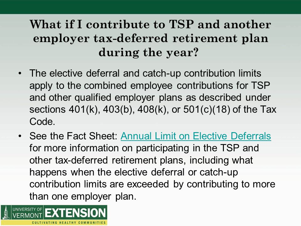 What if I contribute to TSP and another employer tax-deferred retirement plan during the year