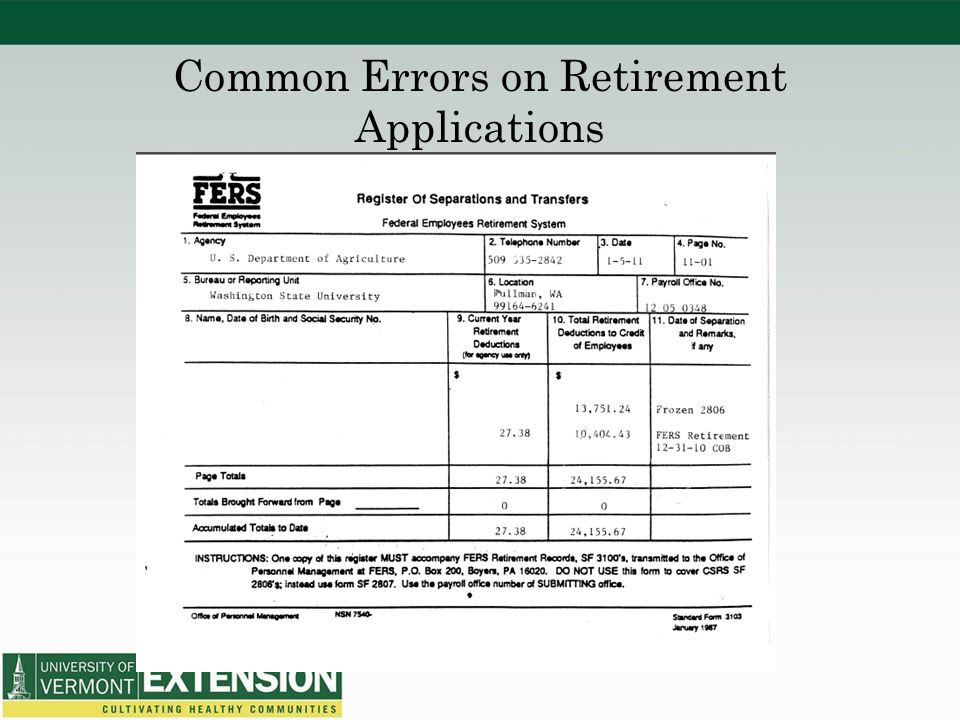 Common Errors on Retirement Applications