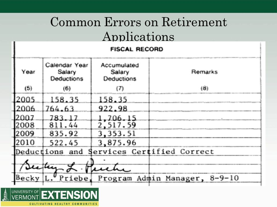 Common Errors on Retirement Applications