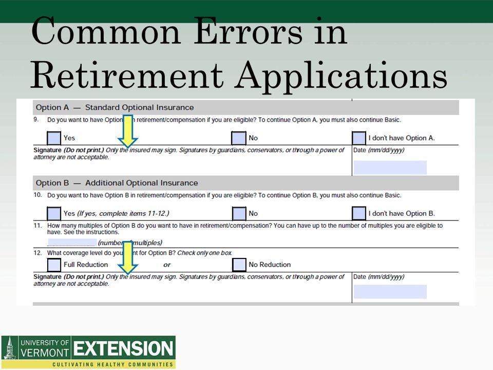 Common Errors in Retirement Applications