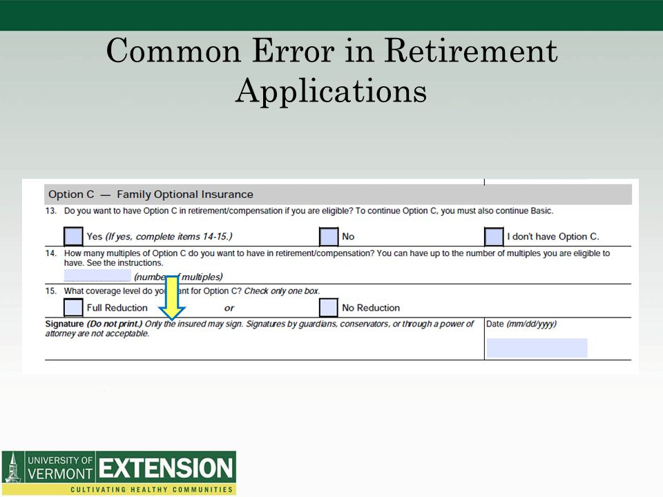Common Error in Retirement Applications