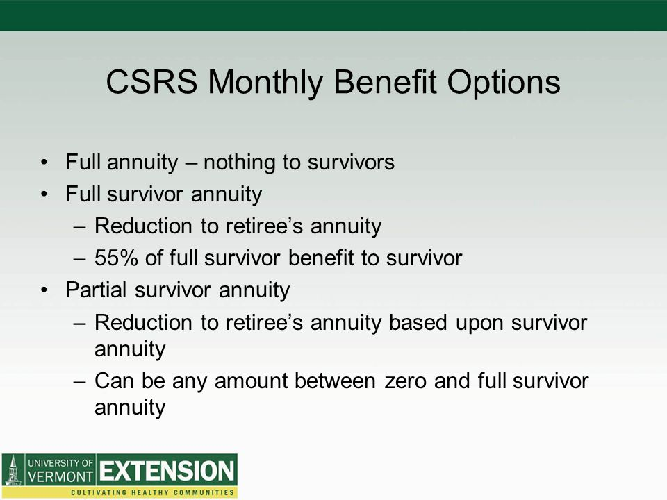 CSRS Monthly Benefit Options