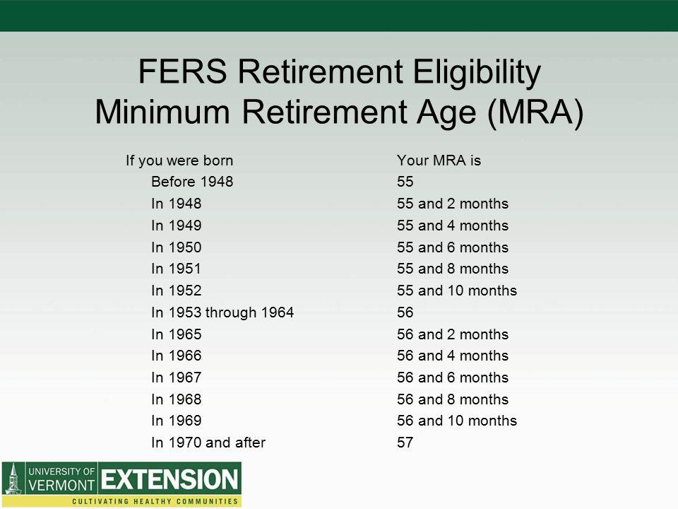 FERS Retirement Eligibility Minimum Retirement Age (MRA)
