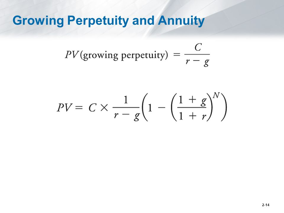 Growing Perpetuity and Annuity