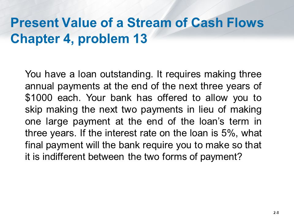 Present Value of a Stream of Cash Flows Chapter 4, problem 13