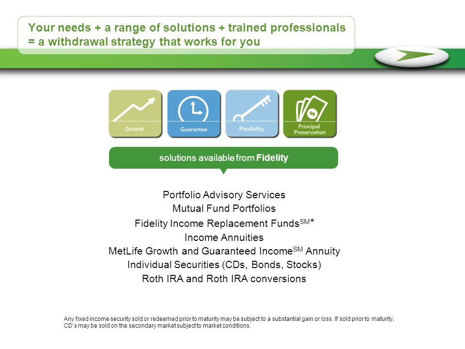 Your needs + a range of solutions + trained professionals = a withdrawal strategy that works for you