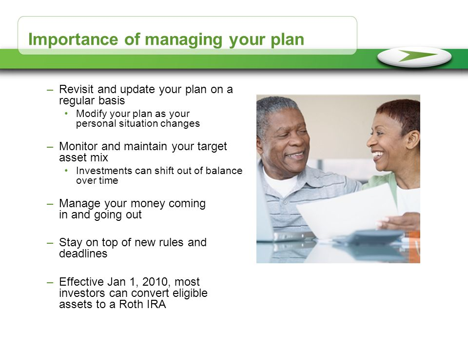 Importance of managing your plan