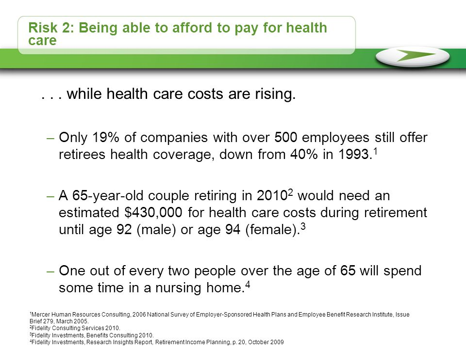 Risk 2: Being able to afford to pay for health care