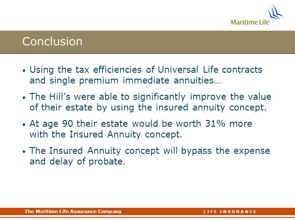 Conclusion Using the tax efficiencies of Universal Life contracts and single premium immediate annuities…