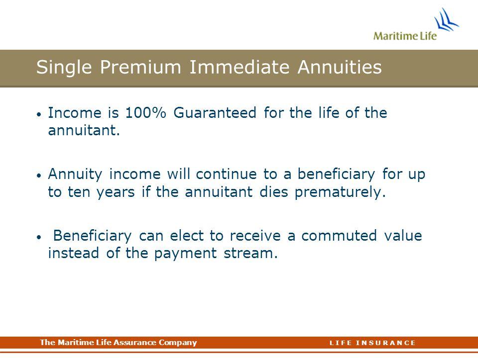 Single Premium Immediate Annuities