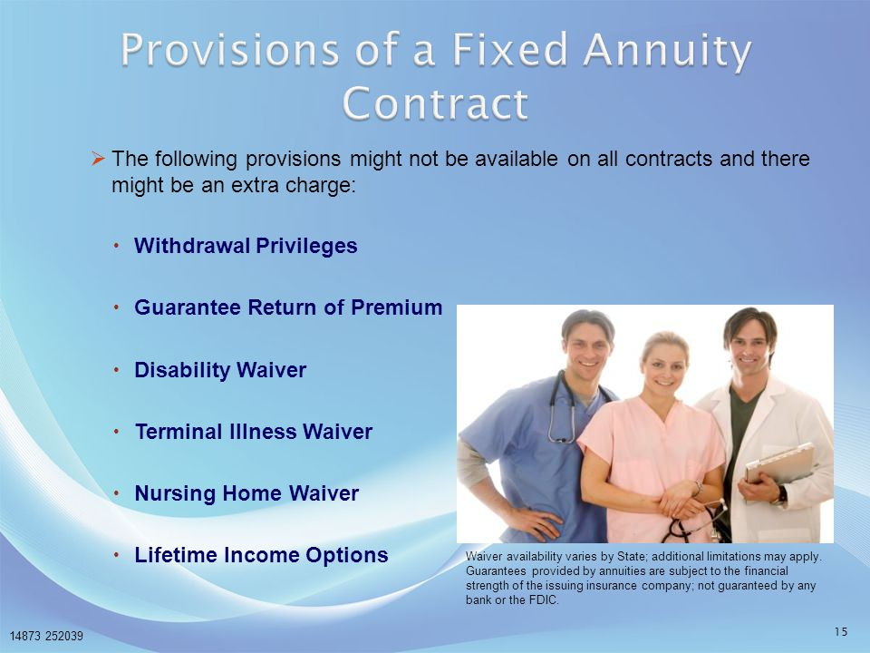 Provisions of a Fixed Annuity Contract