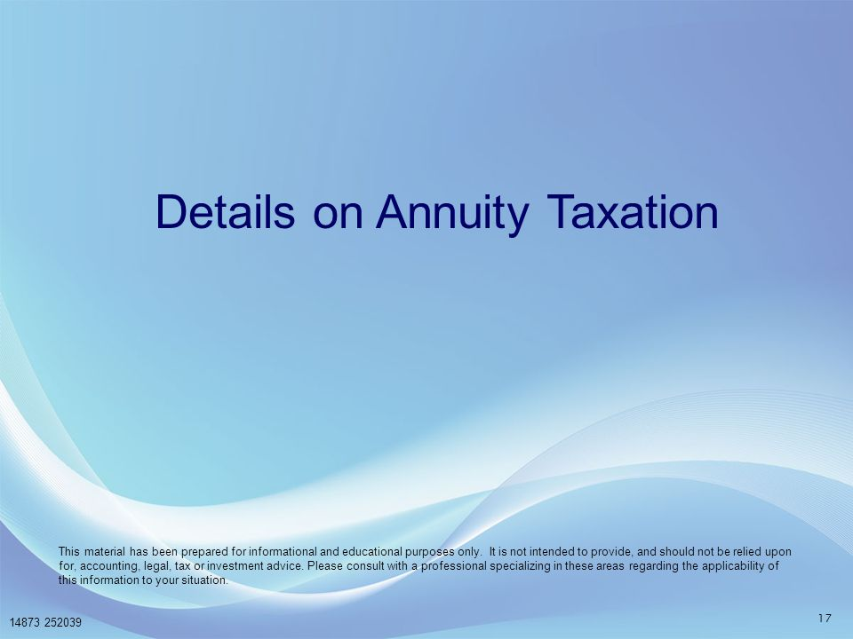 Details on Annuity Taxation